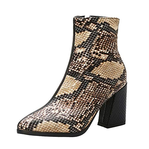 DermanonyWomen High-Heeled Fashion Snake Pattern Shoe Ankle Block Heels Short Boots Non-Slip Fashion and Casual Shoes Brown