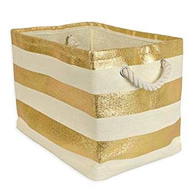 DII Woven Paper Storage Basket or Bin, Collapsible & Convenient Home Organization Solution for Office, Bedroom, Closet, Toys, Laundry (Large - 17x12x12�), Gold Rugby Stripe