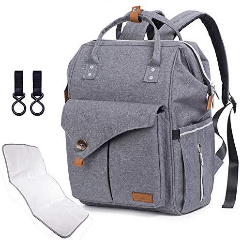 Alameda Bolso cambiador de pañales para bebé, gran capacidad, para mamá y papá, con cambiador y correas para cochecito, color gris