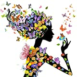 DIY 5d Diamond pintura por número Kit,Pinturas diamantes mariposa chica Crystal Rhinestone bordado adornos de punto de cruz artes manualidades lienzo pared decoración 30 x 30 cm