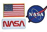 Onekool set 01 - Parches termoadhesivos para planchado, diseño espacial de la NASA, 3 parches
