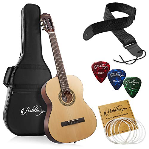 Ashthorpe 39-inch Full-Size Classical Acoustic Guitar, Premium Tonewoods with Classic Natural Finish, Nylon Strings, Gig Bag, Strap, Picks