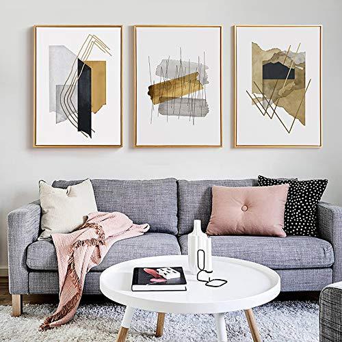 Cuadro de arte de pared Línea de bloques de acuarela nórdica Pinturas en lienzo Impresiones Carteles abstractos para dormitorio moderno Sofá Fondo Decoración de pared 50x70cmx3pcs Sin marco