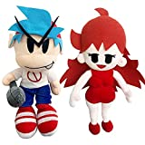 Friday Boyfriend and Girlfriend Plush Toy,Night Funkin Plush Doll Toy, Boyfriend Plush with Microphone and Girlfriend 10 Inch 2 Plush Set