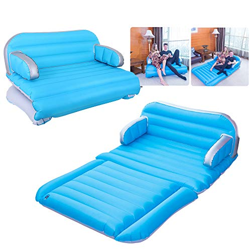 QDH air Mattress Inflatable Couch Home Air Sofa Bed Outdoor Inflatable Chair 4 in 1 Car Inflatable Mattress Double-Sided Thickened Pongee Camping Couch Portable with Electric Pump SUV air Mattress