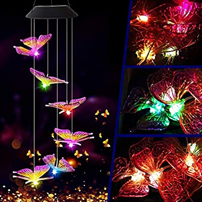 FlyCloud Wind Chime, Solar Hummingbird Butterfl...
