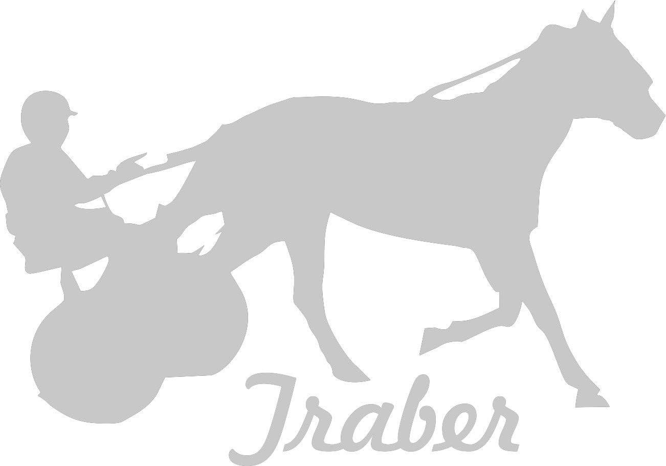 2x Auto Aufkleber Traber Pferd 2x Car Sticker Konturgeschnitten Ca 11x8 Cm Silber Auto