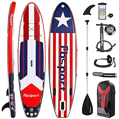 FBSPORT 10.6' Premium Inflatable Stand Up Paddle Board, Yoga Board with Durable SUP Accessories & Carry Bag.Wide Stance, Surf...