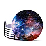 Coaster for Drinks Absorbent Galaxy Star Stone Coasters with Cork Base Stone Coasters Set Suitable for Kinds of Mugs and Cups, Coffee, End Table and Night Stands, Set of 6