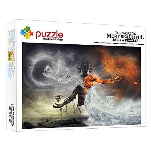 1000 Piezas Puzzles Junior Puzzle 1000 Piece Jigsaw Puzzle Agua Y Fuego Estatua De Buda Fantasía Para Adultos Niños Educativos Juegos Para Regalo De Año Nuevo De Vacaciones De Invierno 15 X 10 Pulgada
