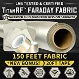 TitanRF Faraday Fabric Pro Construction Kit XL 50 Yards. Military Grade Certified Material Blocks RF Signals (WiFi, Cell, Bluetooth, GPS, EMF). 150ft L x 44in W (45.7m x 1.1m) + 20ft Conductive Tape