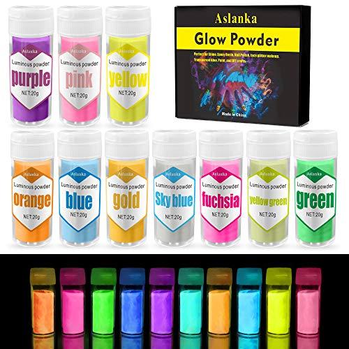 Aslanka Polvo fluorescente autoiluminado, colorante de resina epoxi fosforescente fluorescente para limo, uñas, resina, pintura, pintura acrílica, manualidades, 10 x 20g