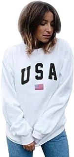 Women Fashion Sweatshirt,Lelili USA Letter and Flag Printed Long Sleeve Crewneck Casual Pullover Tops