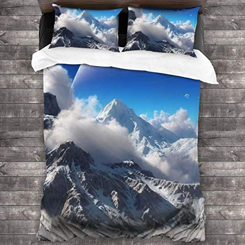 AIMILUX Duvet cover,Beautiful Natural Scenery,Winter Mountains Covered With Heavy Snow,Huge Planets In The Clouds And Sky,Comfortable and soft Microfibre quilt cover 200x200cm,2 Pillowcase 50X80cm