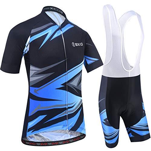 BXIO Trajes de Ciclismo para Hombres Ropa de Bicicleta de Manga Corta 5D Gel Pad Short Maillot Ciclismo 200 (Black-Blue(200,Bib Shorts), L)