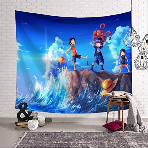 Vorhang für Balkon, durchsichtig, Anime, einteilig, Affe D. Luffy Sabo Portgas·D· Ace Holiday Party Indie Room Art Decor 150 x 210 cm