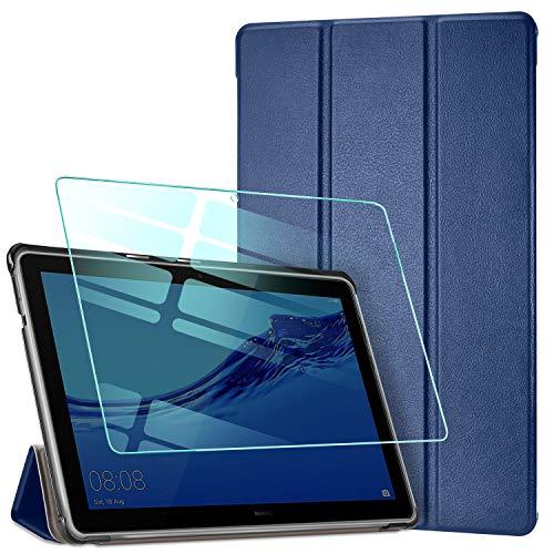 AROYI Hülle für Huawei MediaPad T5 10.1 Zoll & Panzerglas, Ultra Schlank Schutzhülle Hochwertiges PU mit Standfunktion Glas Panzerfolie für Huawei MediaPad T5 10,1 Zoll 2018 Dunkelblau
