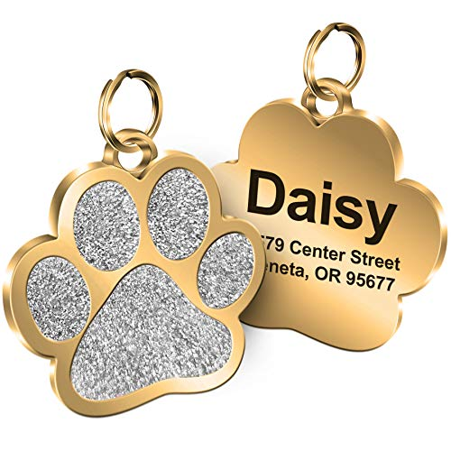 Personalized Engrave Pet ID Tags Paw Shape Custom Glitter Pet Supplies Engrave Name Number Elegant Plated Unique Gift for Cats Little Dogs (Silver)