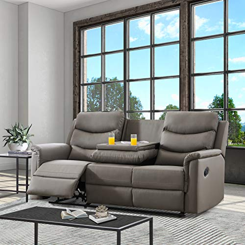 Sofa is a Three-Piece Living Room with a Manual Recliner-The Middle backrest of The 3-Seater is Turned Over and 2 Seats with Storage Console and 2 Plastic Cup Holders (Grey)