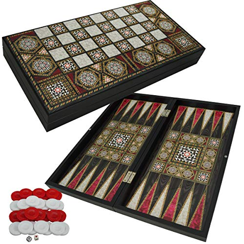 PrimoLiving P-860 Deluxe Holz Backgammon Set Orient im XXL Format 48x48,7 cm, braun