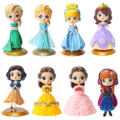 Princesa Cake Topper Hilloly 8 Piezas Mini figuras de princesa Anime Decoración de Torta Princesa Congelada Cake Topper Modelo de Muñeca de Princesa para Niños Cumpleaños