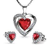 DEPHINI - Set collana e orecchini a cuore rosso - argento Sterling 925 - pietra portafortuna del Siam chiaro impreziosita da orecchini di cristallo rosso CZ - ciondolo donna