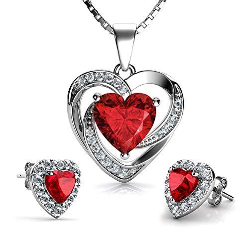 DEPHINI - Set collana e orecchini a cuore rosso - argento Sterling 925 - pietra portafortuna del Siam chiaro impreziosita da orecchini di cristallo rosso Swarovski - ciondolo donna