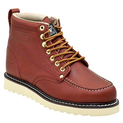 Golden Fox Steel Toe Men's Lightweight Work Boots Moc Toe Boot Insulated (9.5 D(M) US, Redwood)