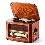 Shuman 7 y 1 Retro Madera Radio con FM , Reproductor de CD / MP3, Reproducción Bluetooth, Reproducción USB, Conector para Auriculares, Altavoz Incorporado (MC-267)