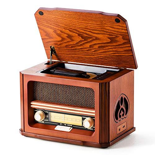 Shuman Holz Retro-Radio 7-in-1 mit FM, CD / MP3-Spieler, Bluetooth-Wiedergabe, USB-Wiedergabe, Kopfhöreranschluss, integriertem Lautsprecher (MC-267)