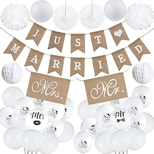 Just Married Hochzeit Deko Set, Mr&Mrs Just Married Sackleinen Banner Papier Dekoration Weiß Luftballons Folienballon, Mr&Mrs Girlande Dekoration Hochzeit Set für Hochzeit Fest Party Dekoration