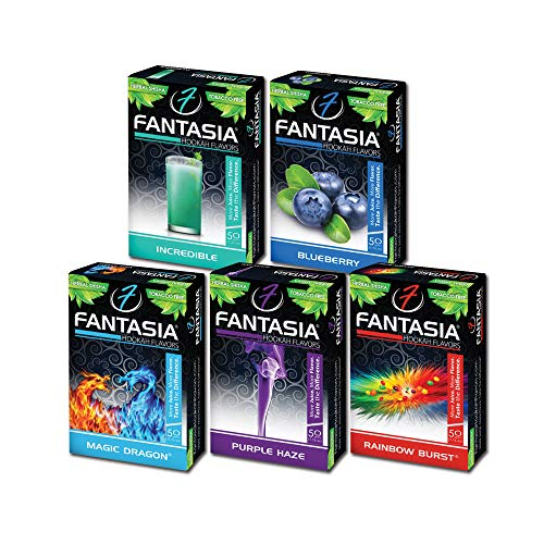 Fantasia Herbal, Hookah Shisha Flavors, Tobacco & Nicotine Free, Berry Variety Pack, 50-Gram (Pack of 5) B5