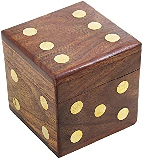 Playful Rosewood Dice Shaped Game Box with 5 Dices Hand Carved with Brass Inlay Board