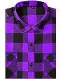DOKKIA Men's Dress Buffalo Plaid Checkered Gingham Long Sleeve Flannel Shirt (Purple Black Buffalo, Medium)