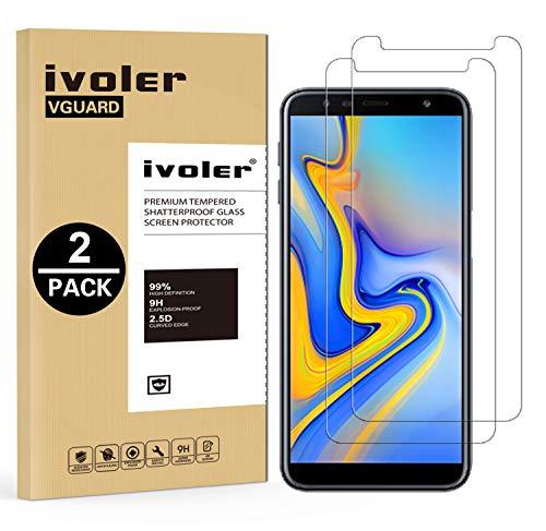 ivoler [2 Stücke] Panzerglas Schutzfolie für Samsung Galaxy J6 Plus 2018 / J4 Plus 2018 / A7 2018, 9H Härte, Anti- Kratzer, Bläschenfrei, [2.5D Runde Kante]