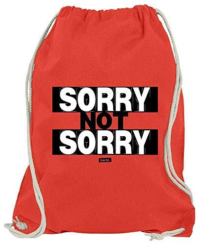 Hariz Bolsa de Deporte Sorry Not Sorry con Frases en Blanco y Negro y Tarjeta de Regalo, Color Rojo, tamaño Talla única