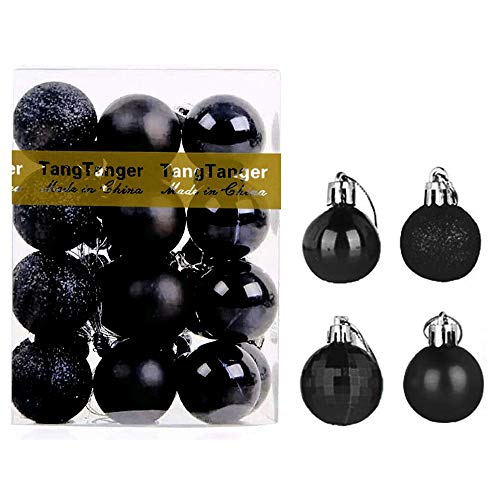 Christmas Ball Assorted Pendant Shatterproof Ball Ornament Set Seasonal Holiday Wedding Party Decorations(24 pcs, 4 cm) (Black)