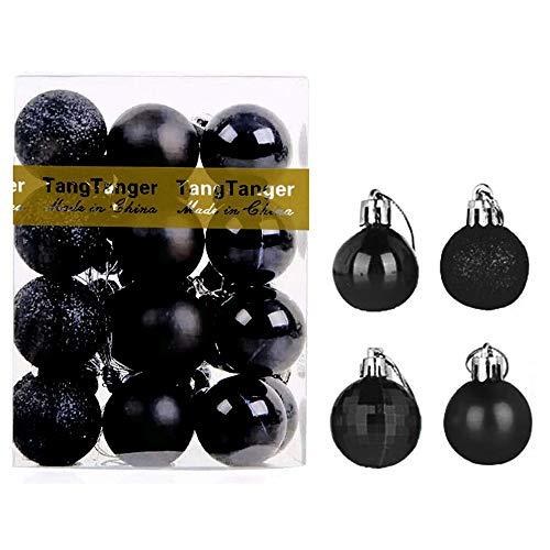 TangTanger Christmas Ball Assorted Pendant Shatterproof Ball Ornament Set Seasonal Holiday Wedding Party Decorations(24 pcs, 4 cm) (Black)