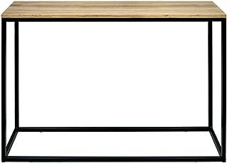 DS Dropshipping Mesa Recibidor iCub. Color Negro. Dimensiones 120x35x80cm. Fabricada en Madera de Pino Maciza con Efecto Envejecido y Estructura de Tubo de Acero.