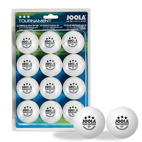 JOOLA Tournament - Pelotas de Ping Pong (3 Estrellas, 12 Unidades, 40 mm de diámetro, para Entrenamiento de Ping-Pong, aptas para Interior y Exterior, Color Blanco)