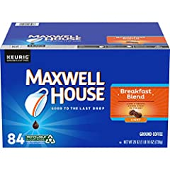 One box of 84 Maxwell House Breakfast Blend Keurig K Cup Coffee Pods Breakfast Blend coffee pods deliver the same quality you expect from any package of Maxwell House Designed for use in Keurig 1.0 & 2.0 brewing systems Light & Bright, a good start t...