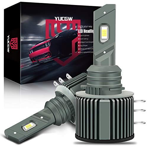 YUCGW H15 LED Headlight Bulbs Conversion Kit 14000LM 12V 35W Canbus Led Bulb 6500K Cool White High Beam Daytime Running Light CSP Car Headlight 2 pack