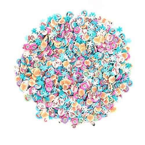 Minkissy 3000 stücke weihnachten 3d nail art polymer clay scheiben schneeflocken weihnachtsmann elch nail art tipps dekoration nägel aufkleber für das haften an schleim und nail art