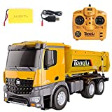 TongLi 573 rc Truck Adult Scale Remote Control Dump Truck Toy Gift to Father and Children Engineering Truck 1:14 Remote Control Outdoor Toy 2.4Ghz Powerful Upgrade, with LED Lights and Analog Sound