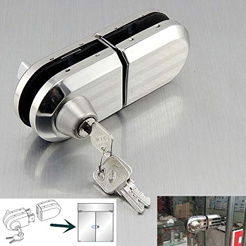with 3 Keys Only Fit 10mm -12mm Thickness Single Swing Hinged Glass Door, Frameless Glass Door Locks, Durable Metal Chrome Office Stainless Steel Anti-Theft Security Lock