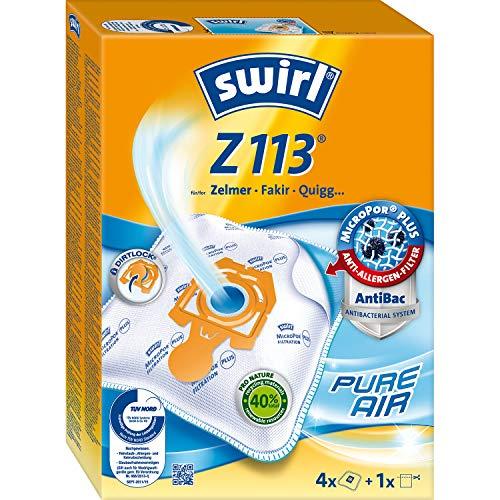 Swirl Z 113 MicroPor Plus Staubsaugerbeutel für Zelmer, Fakir, Quigg Staubsauger, Anti-Allergen-Filter, 4 Stück inkl. Filter