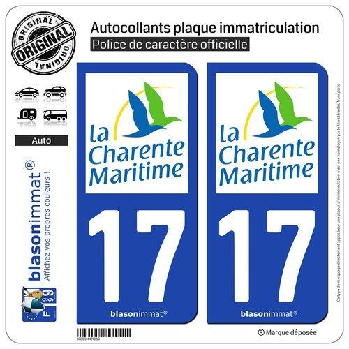 blasonimmat 2 Autocollants Plaque immatriculation Auto 17 Charente-Maritime - Département