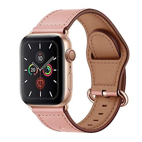 Arktis Armband [echtes Leder] kompatibel mit Apple Watch (Series 1, Series 2, Series 3 mit 38 mm) (Series 4, Series 5 mit 40 mm) Lederarmband mit Edelstahl Dornschließe und Adapter - Rosé