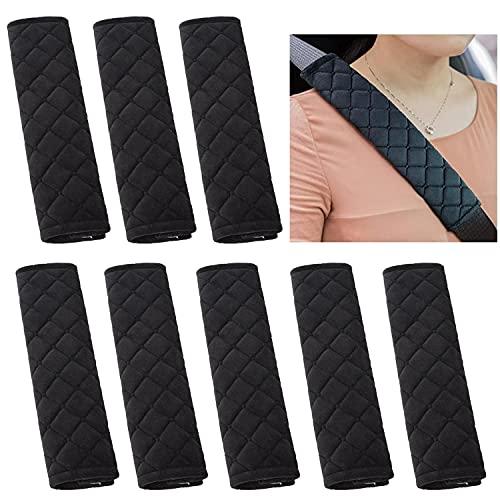 NEPAK 8 Almohadillas Protectoras Para Cinturón De Seguridad De Coche,Almohadilla Para Hombro Para Cinturón De Seguridad,Adecuada Para Adultos y Niños,Compatible Con Todos Los Coches (Negro)