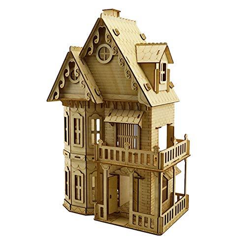 QHWJ Kinder Spielzeug Puzzle, Laserschneiden Gotik Architekturmodell Lasergravur Hölzerne...